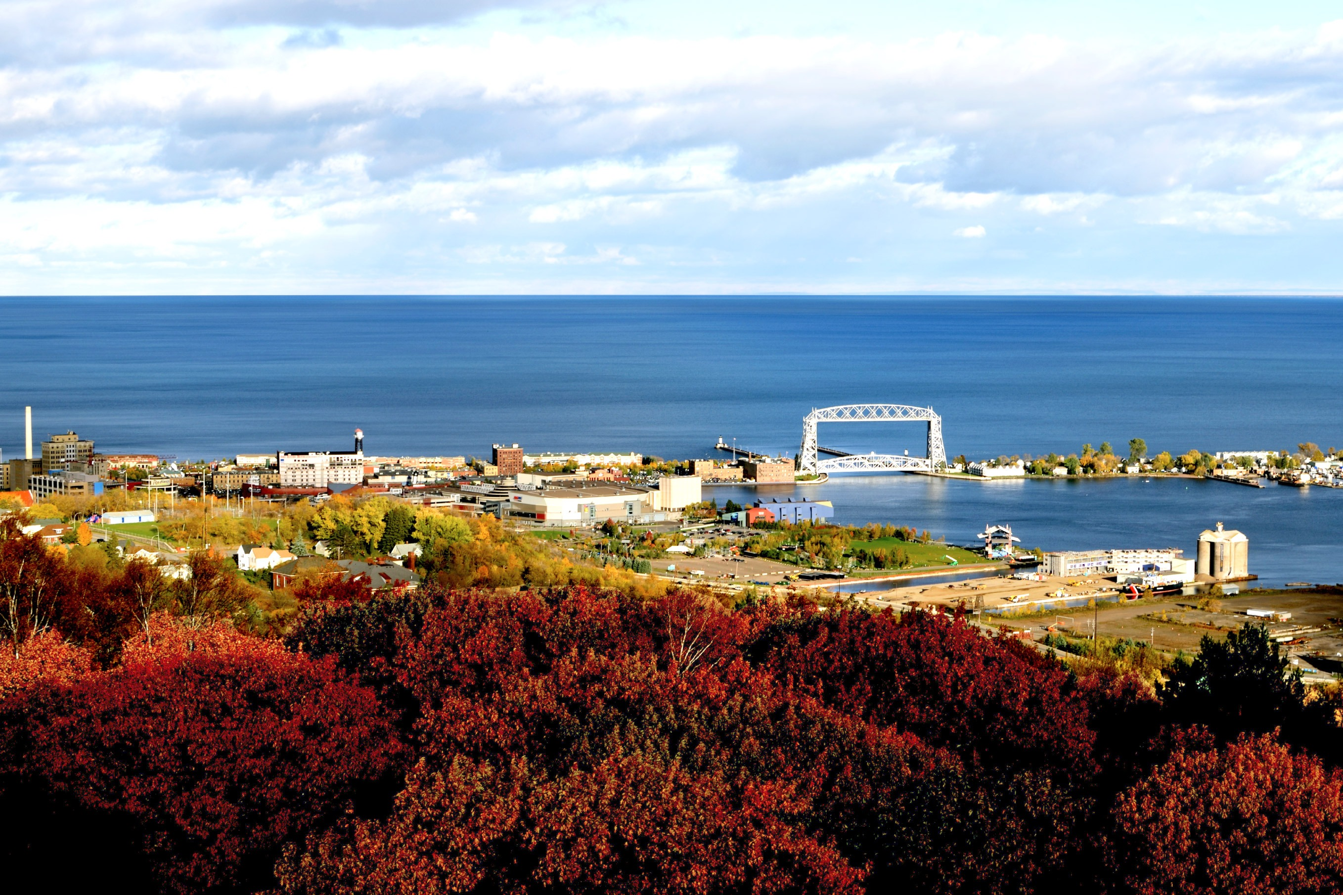 View of the Duluth Aerial Lift Bridge in fall